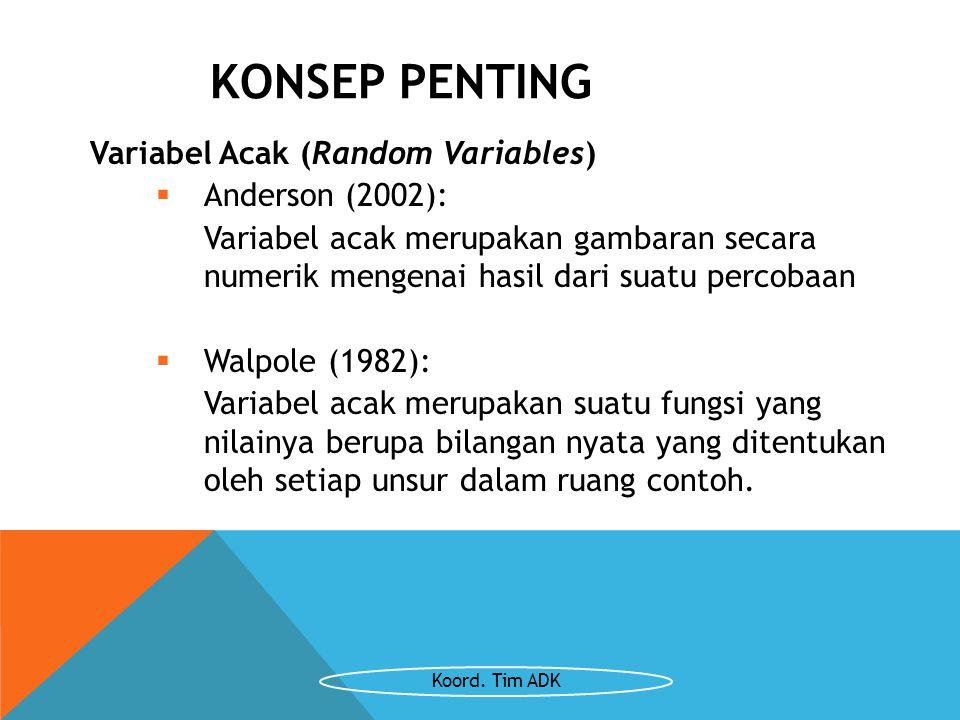 KONSEP PENTING Variabel Acak (Random Variables)  Anderson (2002): Variabel acak merupakan gambaran secara numerik mengenai hasil dari suatu percobaan