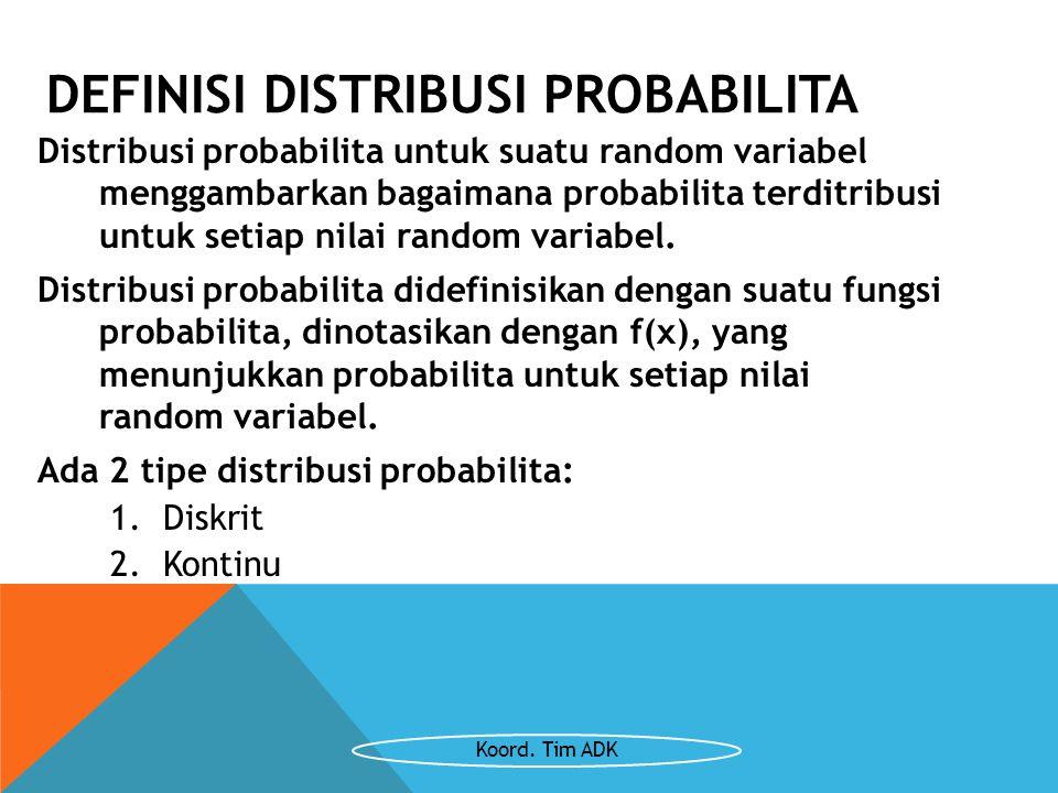 DEFINISI DISTRIBUSI PROBABILITA Distribusi probabilita untuk suatu random variabel menggambarkan bagaimana probabilita terditribusi untuk setiap nilai