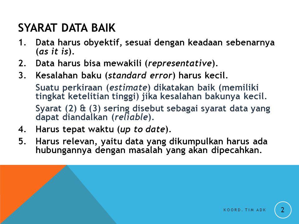 SYARAT DATA BAIK 1.Data harus obyektif, sesuai dengan keadaan sebenarnya (as it is). 2.Data harus bisa mewakili (representative). 3.Kesalahan baku (st