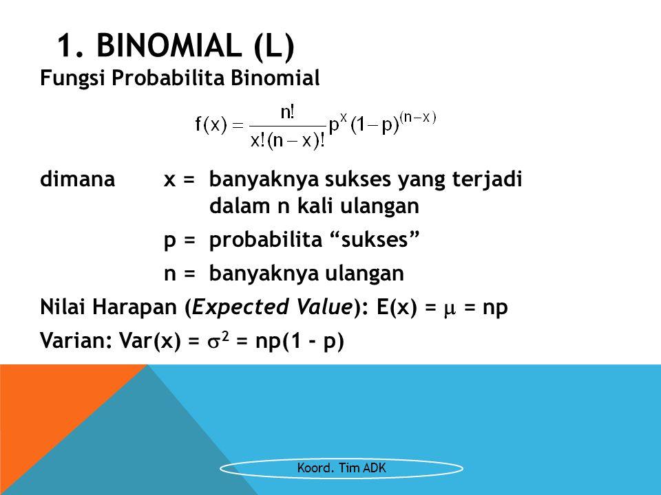"""Fungsi Probabilita Binomial dimana x =banyaknya sukses yang terjadi dalam n kali ulangan p = probabilita """"sukses"""" n =banyaknya ulangan Nilai Harapan ("""