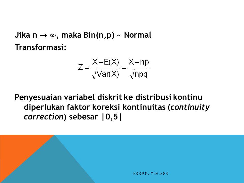 Jika n  , maka Bin(n,p) ~ Normal Transformasi: Penyesuaian variabel diskrit ke distribusi kontinu diperlukan faktor koreksi kontinuitas (continuity