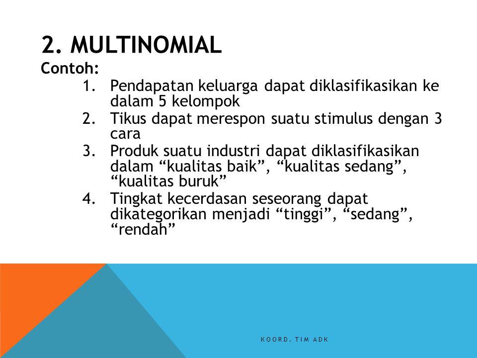 Contoh: 1.Pendapatan keluarga dapat diklasifikasikan ke dalam 5 kelompok 2.Tikus dapat merespon suatu stimulus dengan 3 cara 3.Produk suatu industri d