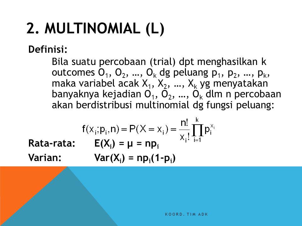 Definisi: Bila suatu percobaan (trial) dpt menghasilkan k outcomes O 1, O 2, …, O k dg peluang p 1, p 2, …, p k, maka variabel acak X 1, X 2, …, X k y