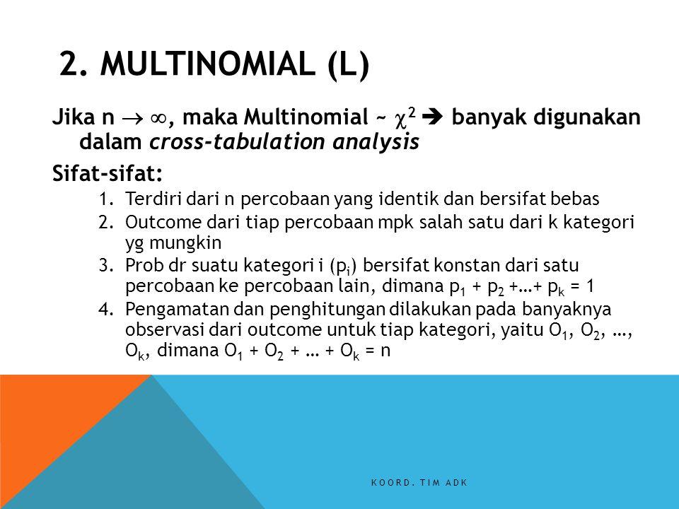 Jika n  , maka Multinomial ~  2  banyak digunakan dalam cross-tabulation analysis Sifat-sifat: 1.Terdiri dari n percobaan yang identik dan bersifa