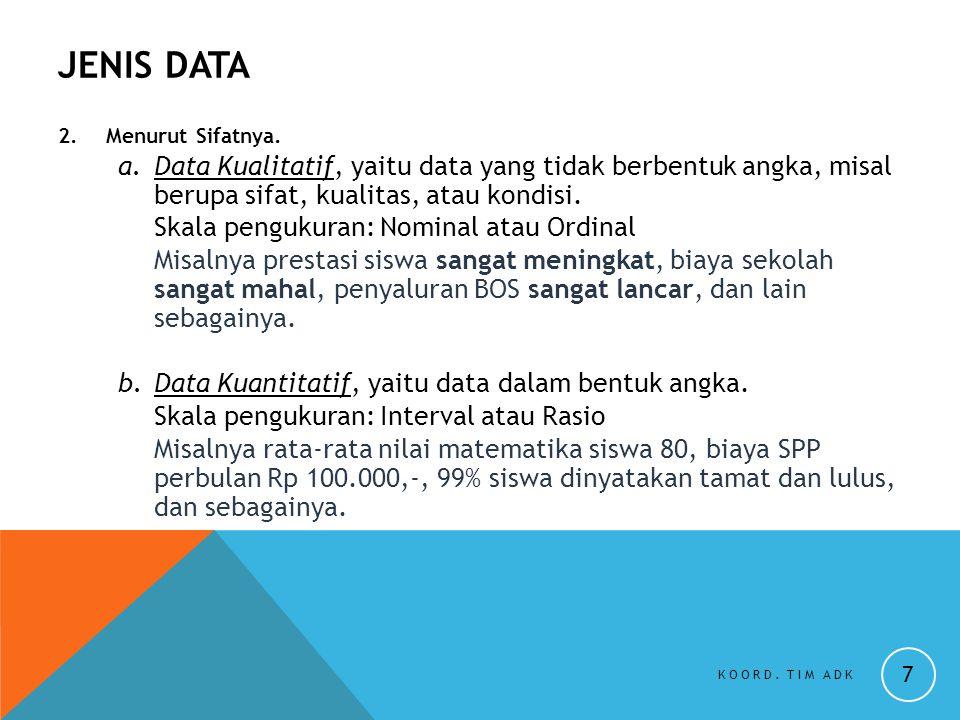 JENIS DATA 2. Menurut Sifatnya. a.Data Kualitatif, yaitu data yang tidak berbentuk angka, misal berupa sifat, kualitas, atau kondisi. Skala pengukuran