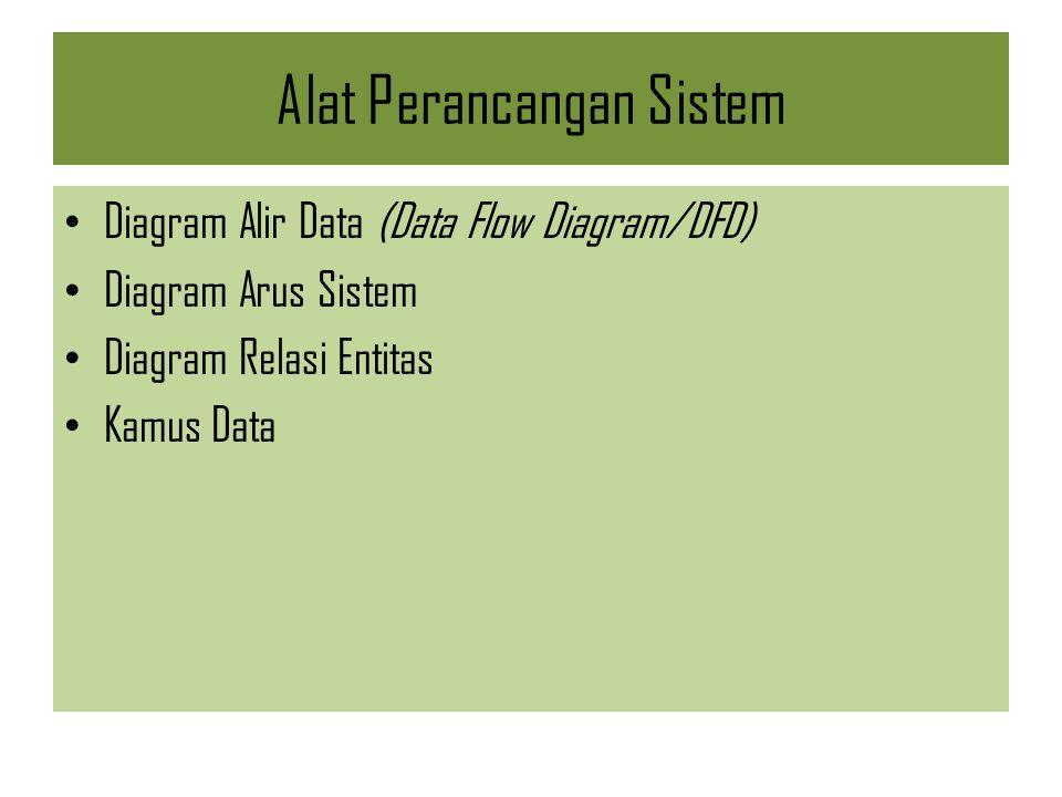Alat Perancangan Sistem Diagram Alir Data (Data Flow Diagram/DFD) Diagram Arus Sistem Diagram Relasi Entitas Kamus Data
