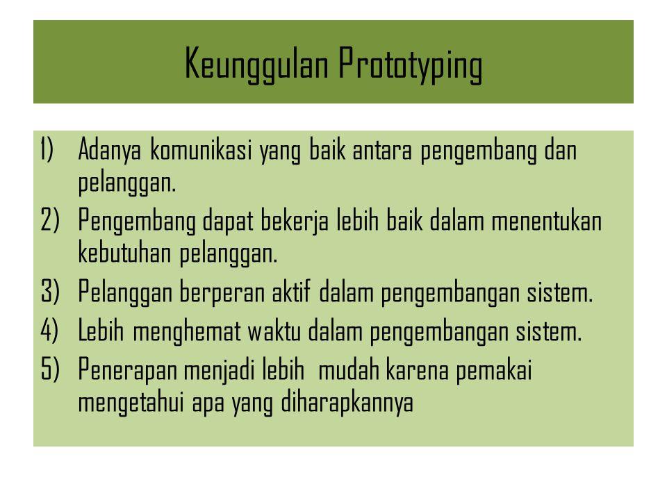 Keunggulan Prototyping 1)Adanya komunikasi yang baik antara pengembang dan pelanggan. 2)Pengembang dapat bekerja lebih baik dalam menentukan kebutuhan
