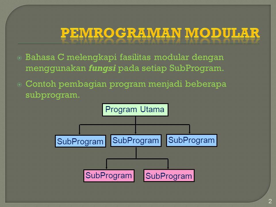  Bahasa C melengkapi fasilitas modular dengan menggunakan fungsi pada setiap SubProgram.  Contoh pembagian program menjadi beberapa subprogram. 2 Pr