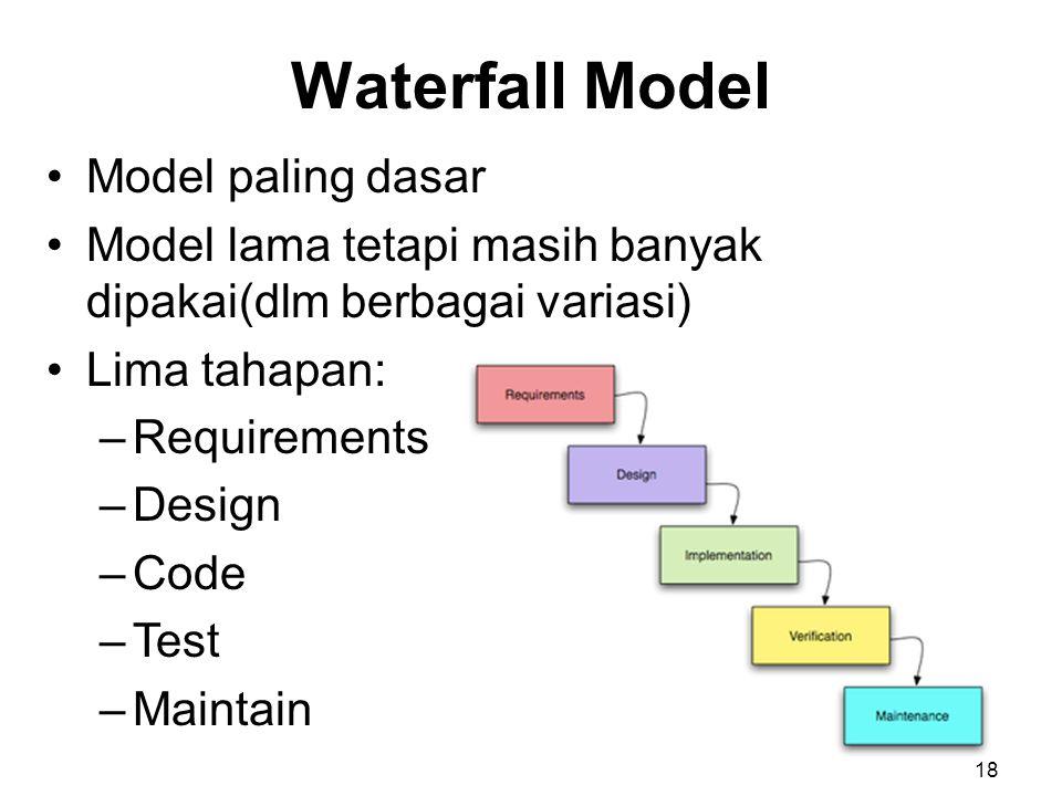 Waterfall Model Model paling dasar Model lama tetapi masih banyak dipakai(dlm berbagai variasi) Lima tahapan: –Requirements –Design –Code –Test –Maintain 18