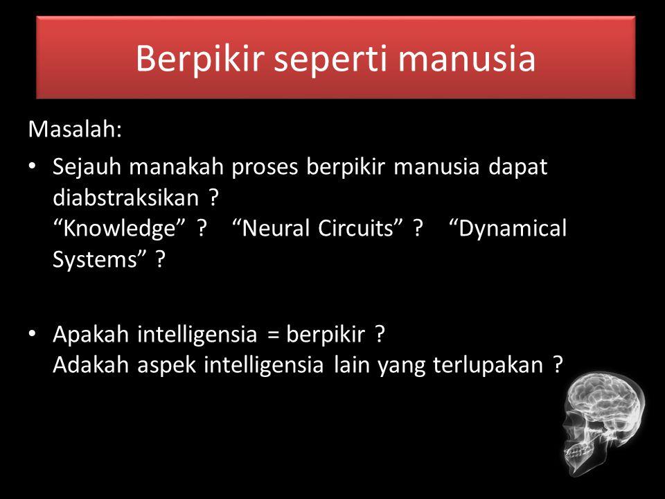 "Berpikir seperti manusia Masalah: Sejauh manakah proses berpikir manusia dapat diabstraksikan ? ""Knowledge"" ? ""Neural Circuits"" ? ""Dynamical Systems"""