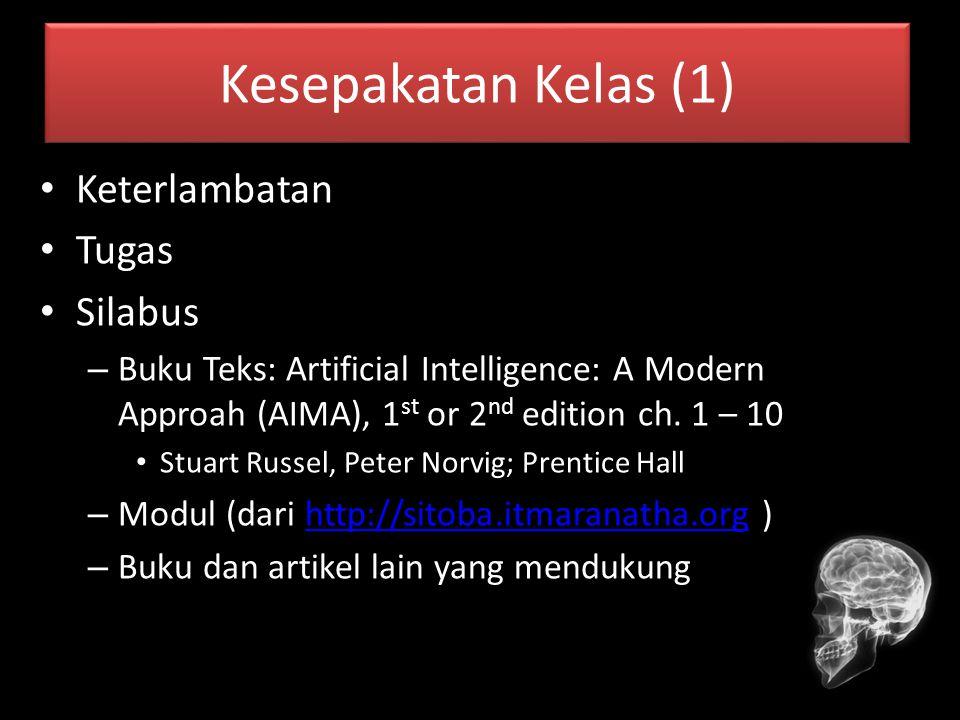 Kesepakatan Kelas (1) Keterlambatan Tugas Silabus – Buku Teks: Artificial Intelligence: A Modern Approah (AIMA), 1 st or 2 nd edition ch. 1 – 10 Stuar