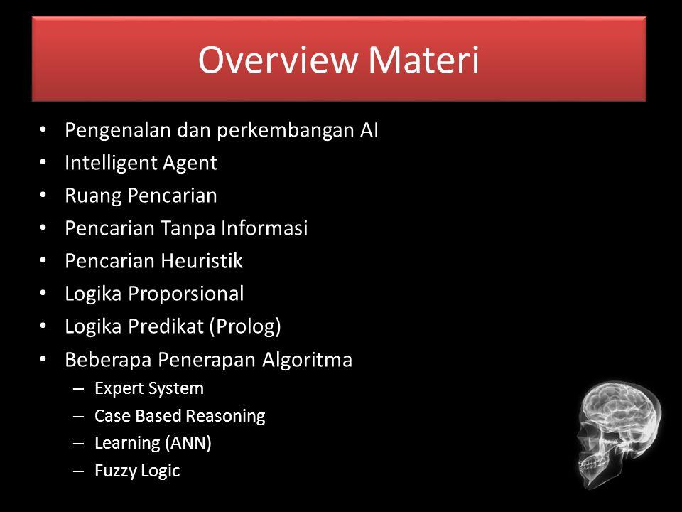 Overview Materi Pengenalan dan perkembangan AI Intelligent Agent Ruang Pencarian Pencarian Tanpa Informasi Pencarian Heuristik Logika Proporsional Log