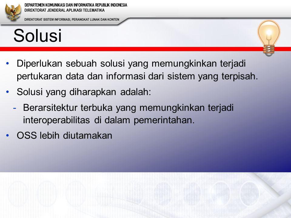 Solusi Setiap wali data menyediakan data yang dibutuhkan oleh dinas lainnya Perlu dibuat kebijakan (semacam PERDA) agar sistem informasi yang dibangun oleh satu institusi siap untuk berinteroperabilitas dengan sistem informasi yang dibangun oleh institusi lainnya (dengan menyediakan service)