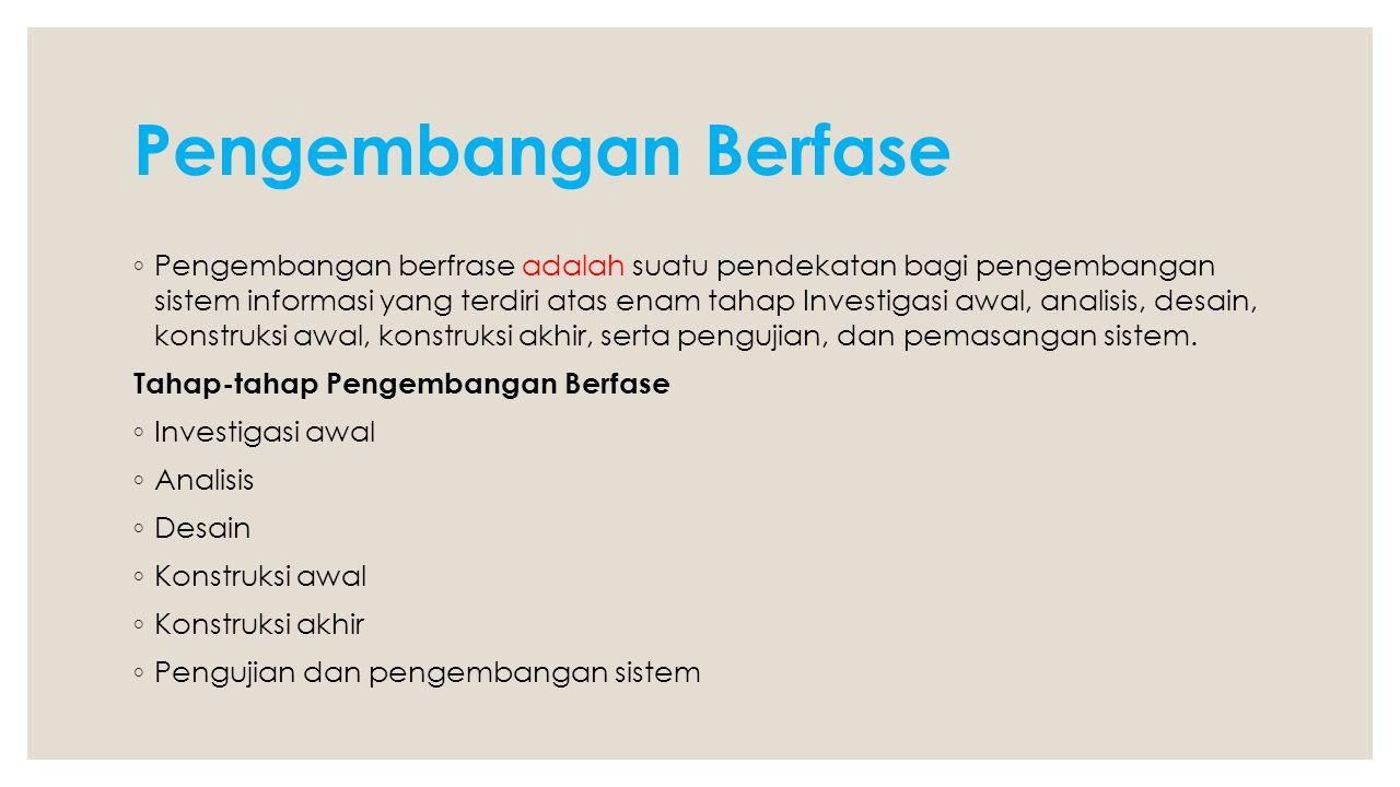 Pengembangan Berfase ◦ Pengembangan berfrase adalah suatu pendekatan bagi pengembangan sistem informasi yang terdiri atas enam tahap Investigasi awal,