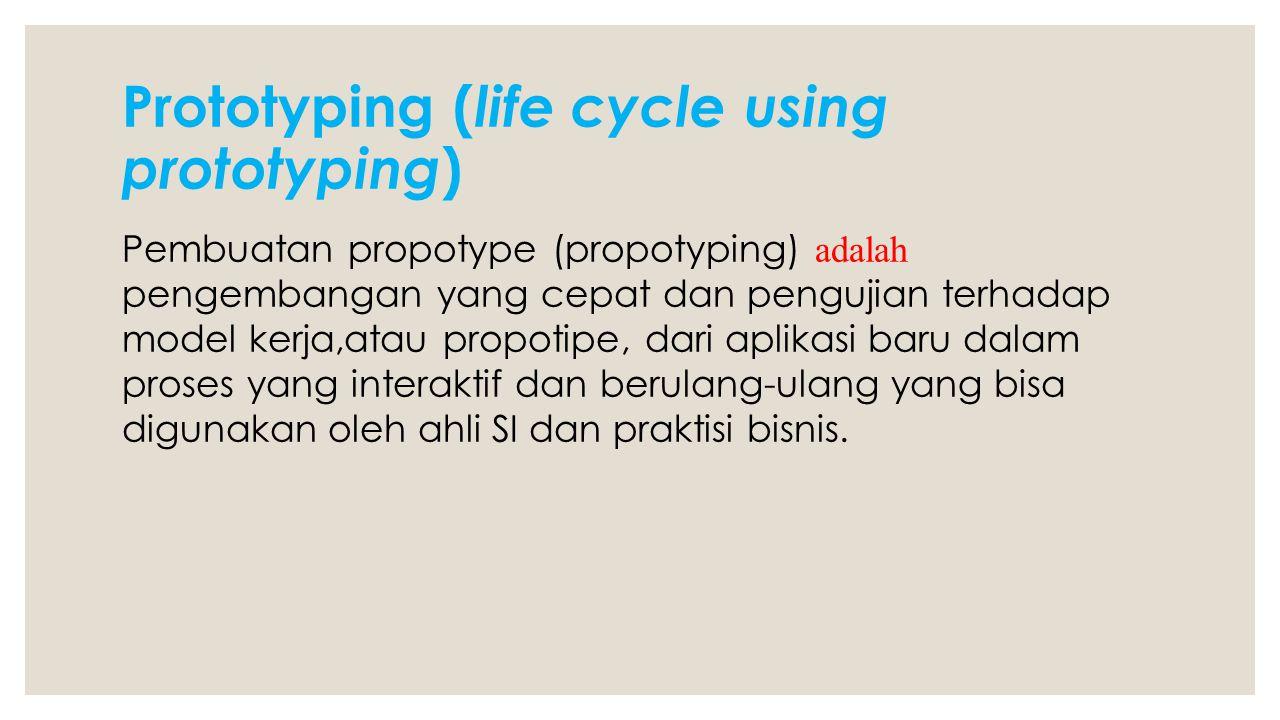 Prototyping ( life cycle using prototyping ) Pembuatan propotype (propotyping) adalah pengembangan yang cepat dan pengujian terhadap model kerja,atau