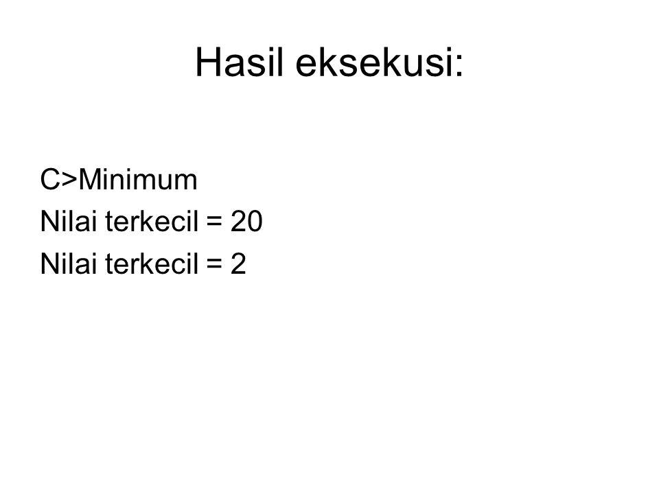 Hasil eksekusi: C>Minimum Nilai terkecil = 20 Nilai terkecil = 2