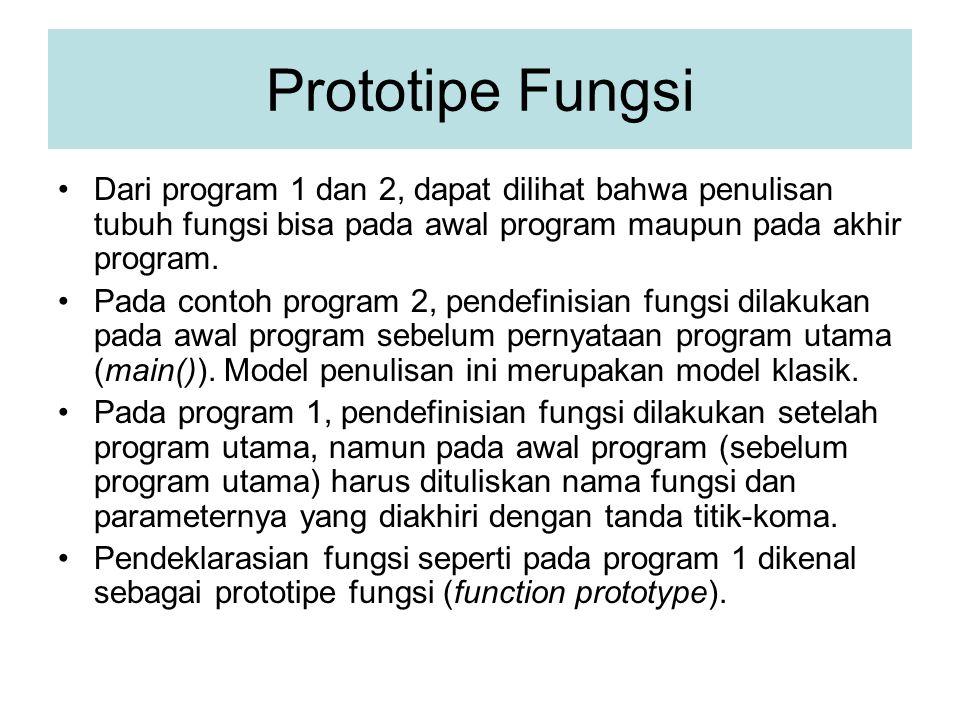 Prototipe Fungsi Dari program 1 dan 2, dapat dilihat bahwa penulisan tubuh fungsi bisa pada awal program maupun pada akhir program. Pada contoh progra