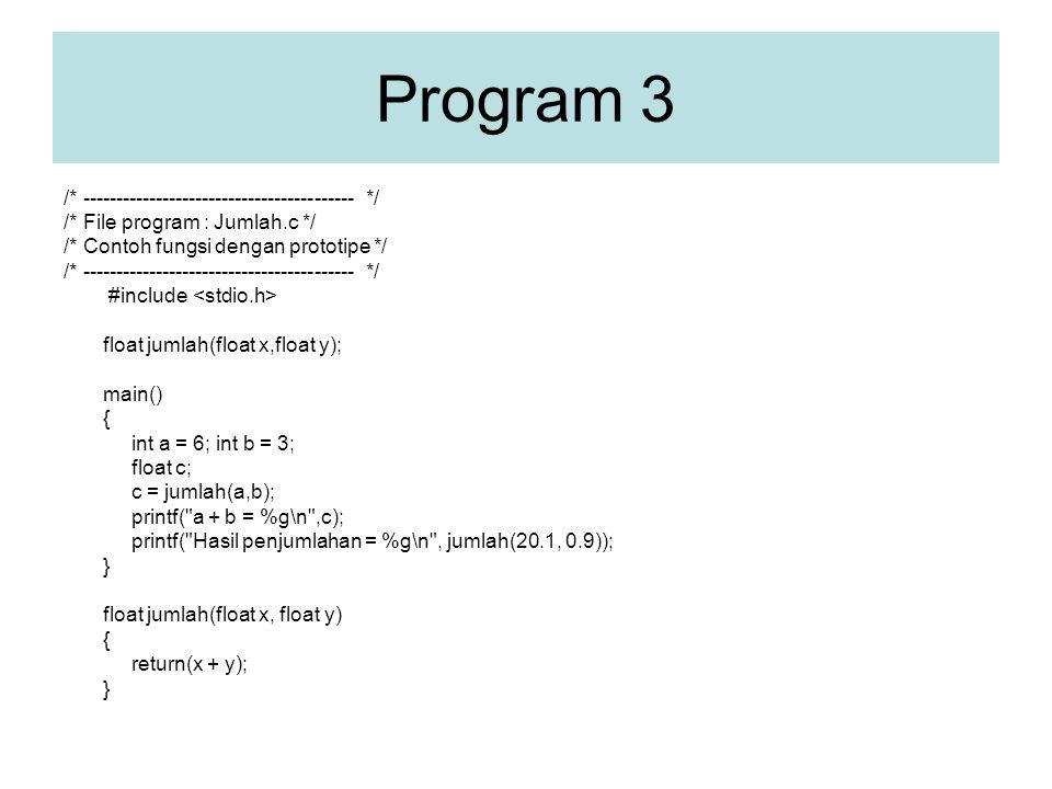 Program 3 /* ----------------------------------------- */ /* File program : Jumlah.c */ /* Contoh fungsi dengan prototipe */ /* ----------------------