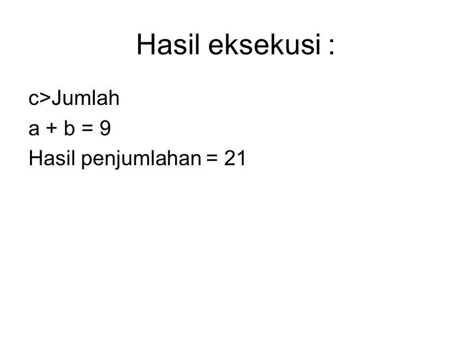 Hasil eksekusi : c>Jumlah a + b = 9 Hasil penjumlahan = 21