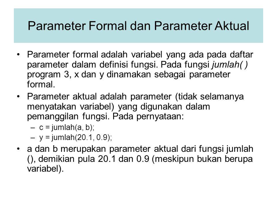 Parameter Formal dan Parameter Aktual Parameter formal adalah variabel yang ada pada daftar parameter dalam definisi fungsi. Pada fungsi jumlah( ) pro