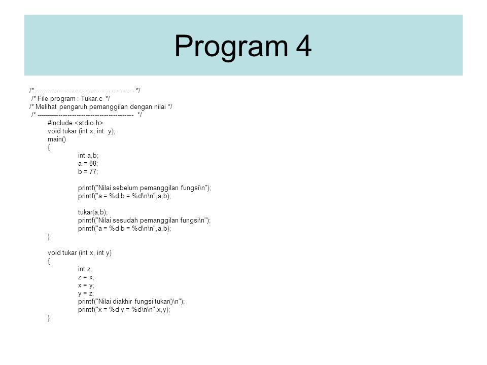 Program 4 /* ------------------------------------------- */ /* File program : Tukar.c */ /* Melihat pengaruh pemanggilan dengan nilai */ /* ------------------------------------------- */ #include void tukar (int x, int y); main() { int a,b; a = 88; b = 77; printf( Nilai sebelum pemanggilan fungsi\n ); printf( a = %d b = %d\n\n ,a,b); tukar(a,b); printf( Nilai sesudah pemanggilan fungsi\n ); printf( a = %d b = %d\n\n ,a,b); } void tukar (int x, int y) { int z; z = x; x = y; y = z; printf( Nilai diakhir fungsi tukar()\n ); printf( x = %d y = %d\n\n ,x,y); }