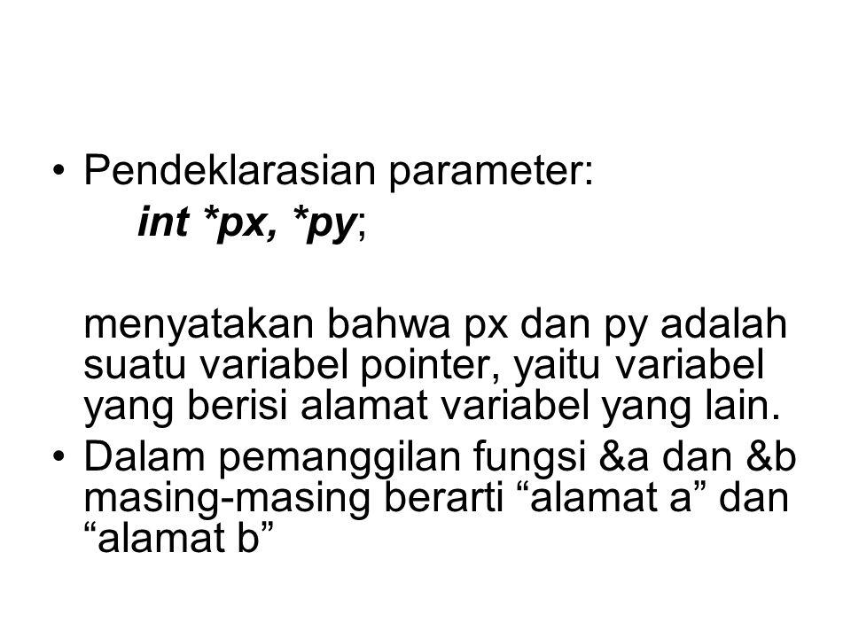 Pendeklarasian parameter: int *px, *py; menyatakan bahwa px dan py adalah suatu variabel pointer, yaitu variabel yang berisi alamat variabel yang lain