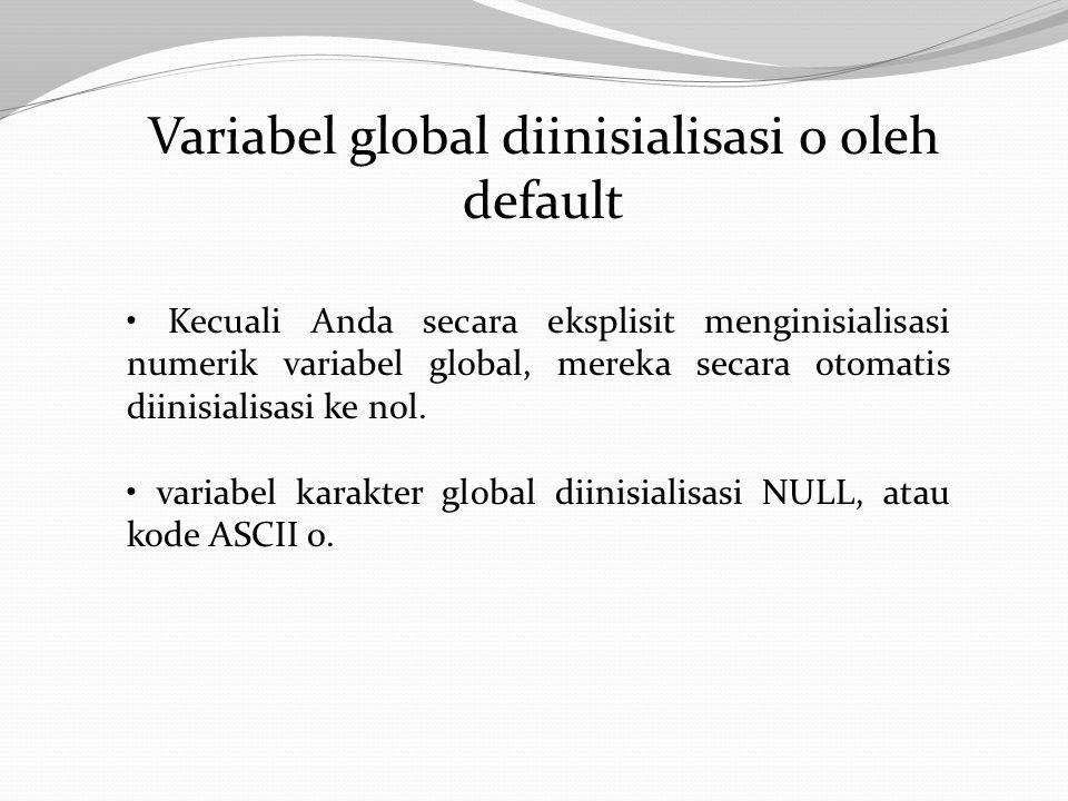 Variabel global diinisialisasi 0 oleh default Kecuali Anda secara eksplisit menginisialisasi numerik variabel global, mereka secara otomatis diinisialisasi ke nol.