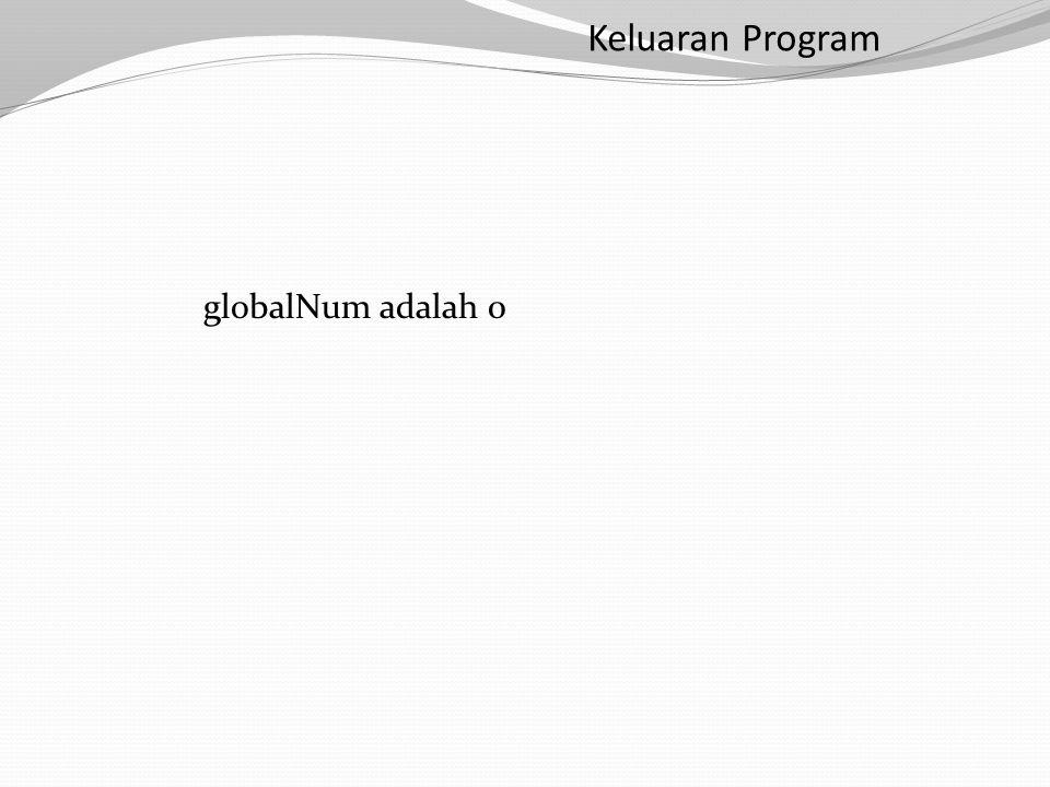 Keluaran Program globalNum adalah 0