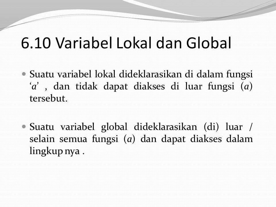 6.10 Variabel Lokal dan Global Suatu variabel lokal dideklarasikan di dalam fungsi 'a', dan tidak dapat diakses di luar fungsi (a) tersebut.