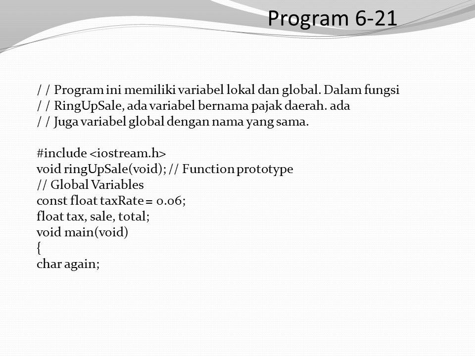 Program 6-21 / / Program ini memiliki variabel lokal dan global.