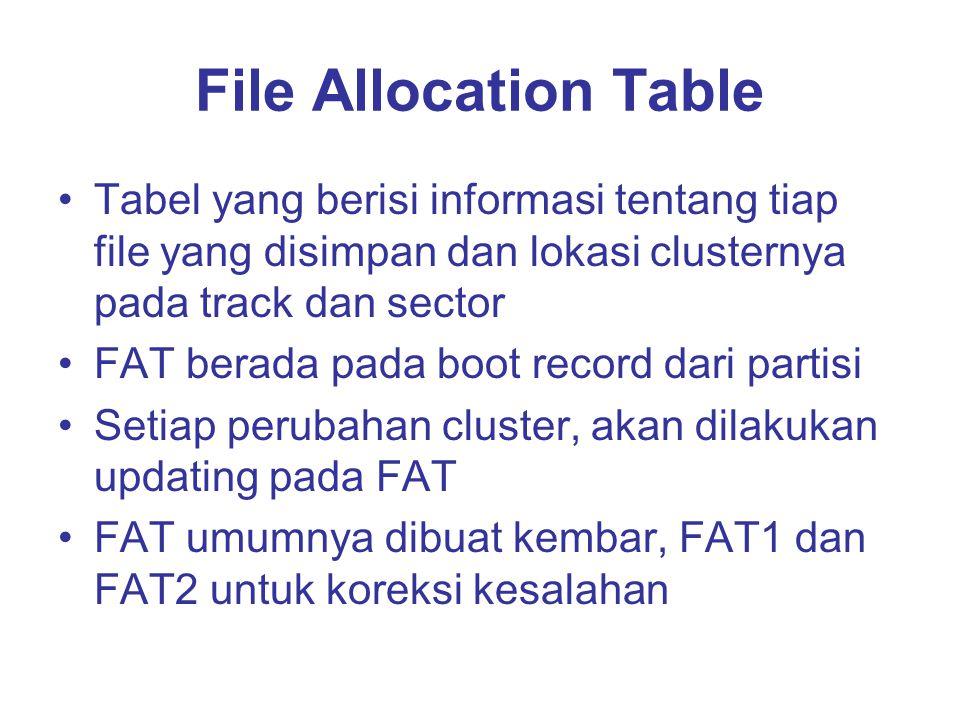 File Allocation Table Tabel yang berisi informasi tentang tiap file yang disimpan dan lokasi clusternya pada track dan sector FAT berada pada boot record dari partisi Setiap perubahan cluster, akan dilakukan updating pada FAT FAT umumnya dibuat kembar, FAT1 dan FAT2 untuk koreksi kesalahan