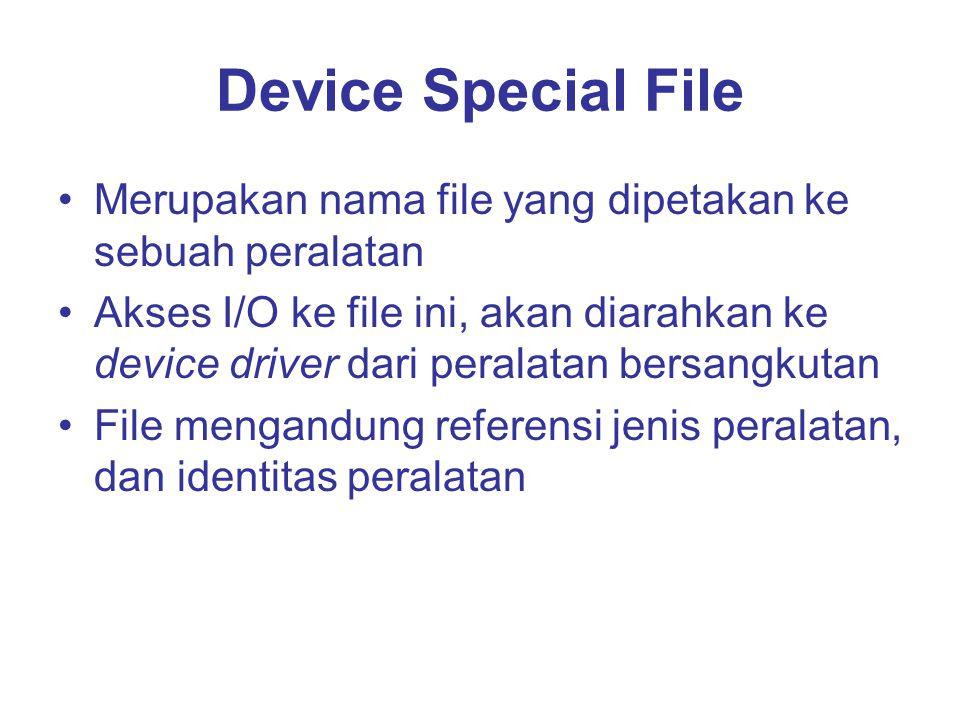 Device Special File Merupakan nama file yang dipetakan ke sebuah peralatan Akses I/O ke file ini, akan diarahkan ke device driver dari peralatan bersangkutan File mengandung referensi jenis peralatan, dan identitas peralatan