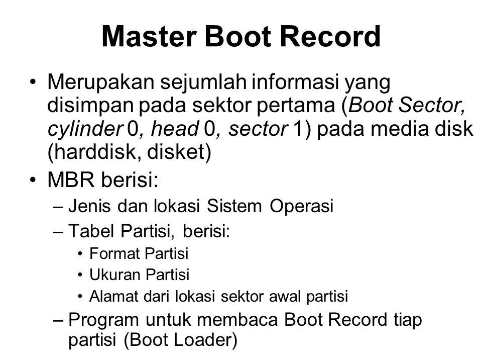 Master Boot Record Merupakan sejumlah informasi yang disimpan pada sektor pertama (Boot Sector, cylinder 0, head 0, sector 1) pada media disk (harddisk, disket) MBR berisi: –Jenis dan lokasi Sistem Operasi –Tabel Partisi, berisi: Format Partisi Ukuran Partisi Alamat dari lokasi sektor awal partisi –Program untuk membaca Boot Record tiap partisi (Boot Loader)