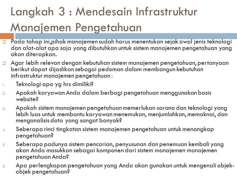 Langkah 3 : Mendesain Infrastruktur Manajemen Pengetahuan  Pada tahap ini,pihak manajemen sudah harus menentukan sejak awal jenis teknologi dan alat-
