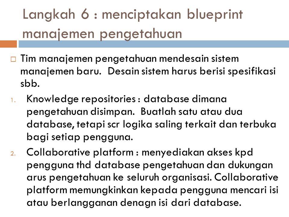 Langkah 6 : menciptakan blueprint manajemen pengetahuan  Tim manajemen pengetahuan mendesain sistem manajemen baru. Desain sistem harus berisi spesif
