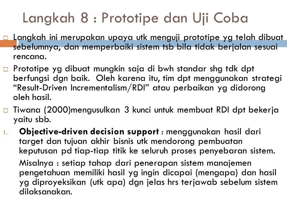 Langkah 8 : Prototipe dan Uji Coba  Langkah ini merupakan upaya utk menguji prototipe yg telah dibuat sebelumnya, dan memperbaiki sistem tsb bila tid
