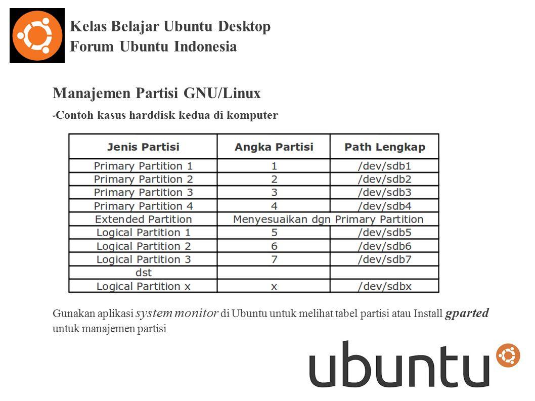 Kelas Belajar Ubuntu Desktop Forum Ubuntu Indonesia Manajemen Partisi GNU/Linux œ Contoh kasus harddisk kedua di komputer Gunakan aplikasi system monitor di Ubuntu untuk melihat tabel partisi atau Install gparted untuk manajemen partisi