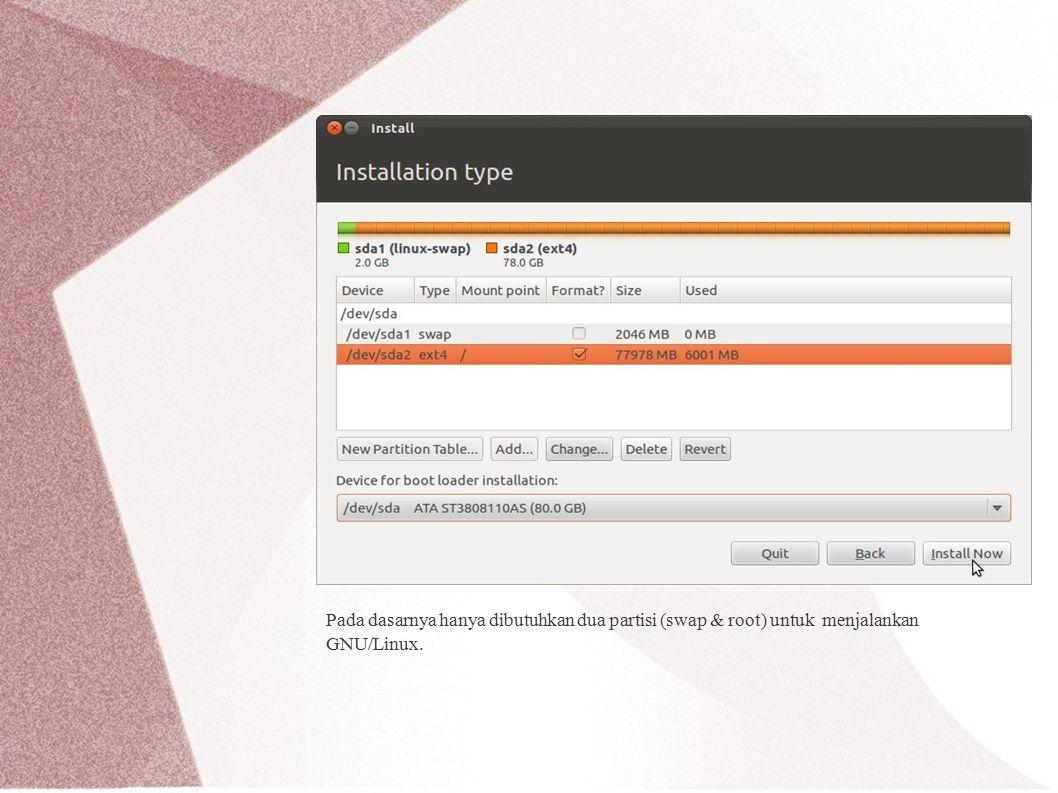 Pada dasarnya hanya dibutuhkan dua partisi (swap & root) untuk menjalankan GNU/Linux.