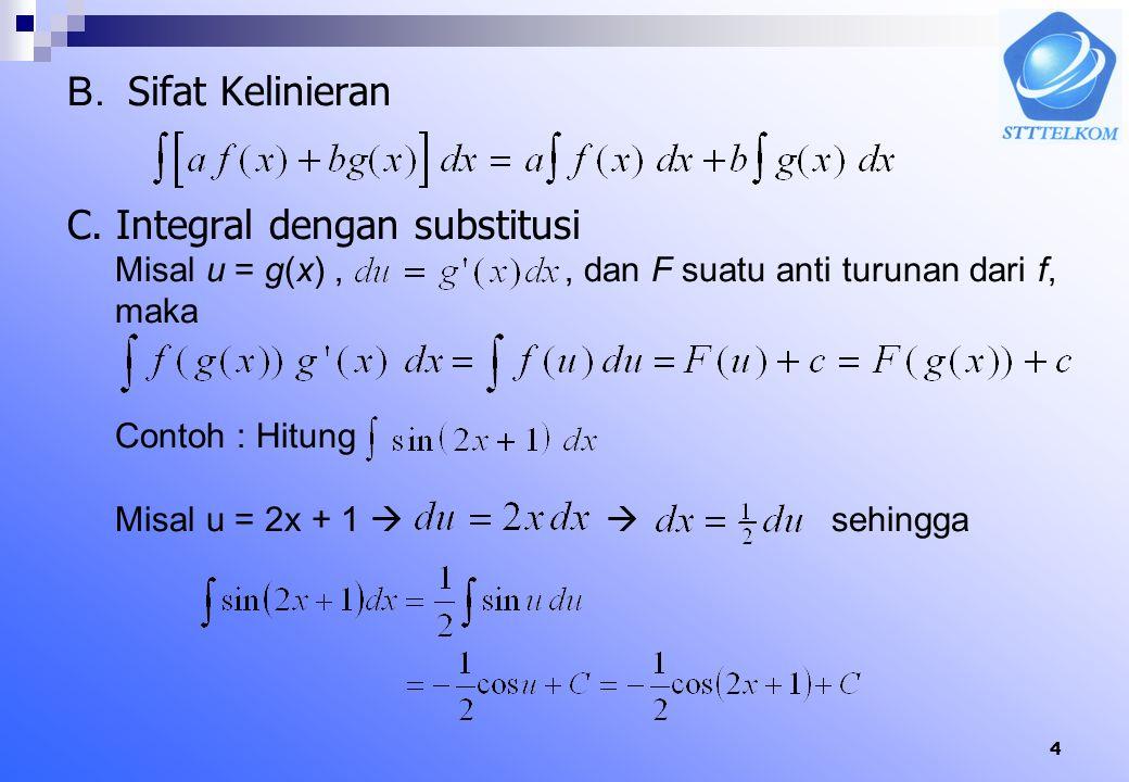 14 Contoh hitung Jawab : = ( (-2 + 4) – (-1/2+ 2 ) ) + ( (25/2 - 10 ) – ( 2 – 4 ) ) = ½+9/2 = 5