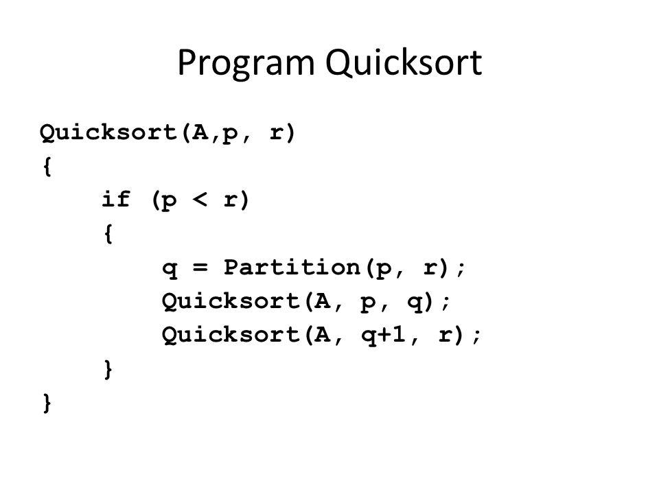 Program Quicksort Quicksort(A,p, r) { if (p < r) { q = Partition(p, r); Quicksort(A, p, q); Quicksort(A, q+1, r); }