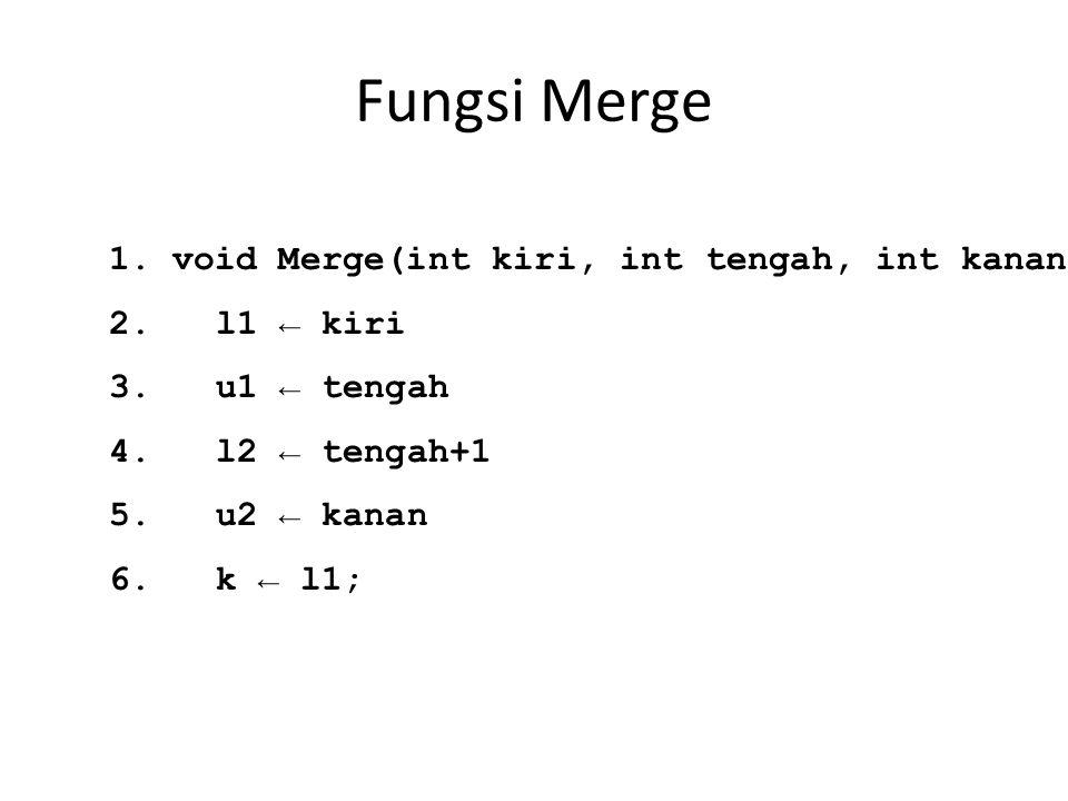 Fungsi Merge 1. void Merge(int kiri, int tengah, int kanan) 2.l1 ← kiri 3.u1 ← tengah 4.l2 ← tengah+1 5.u2 ← kanan 6.k ← l1;