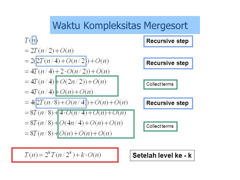 Recursive step Setelah level ke - k Collect terms Recursive step Waktu Kompleksitas Mergesort
