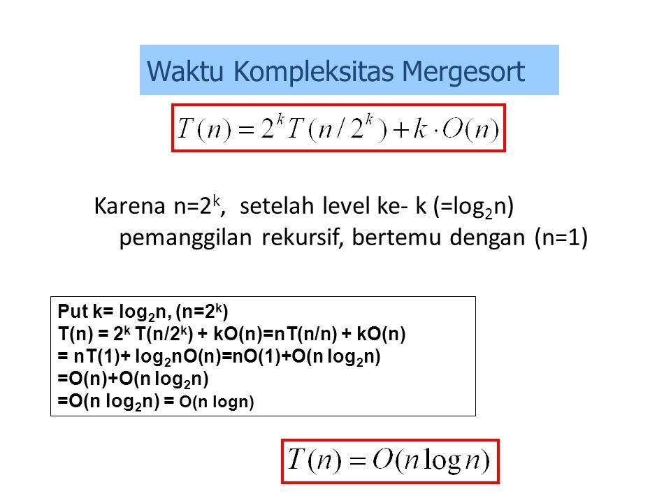 Karena n=2 k, setelah level ke- k (=log 2 n) pemanggilan rekursif, bertemu dengan (n=1) Put k= log 2 n, (n=2 k ) T(n) = 2 k T(n/2 k ) + kO(n)=nT(n/n)