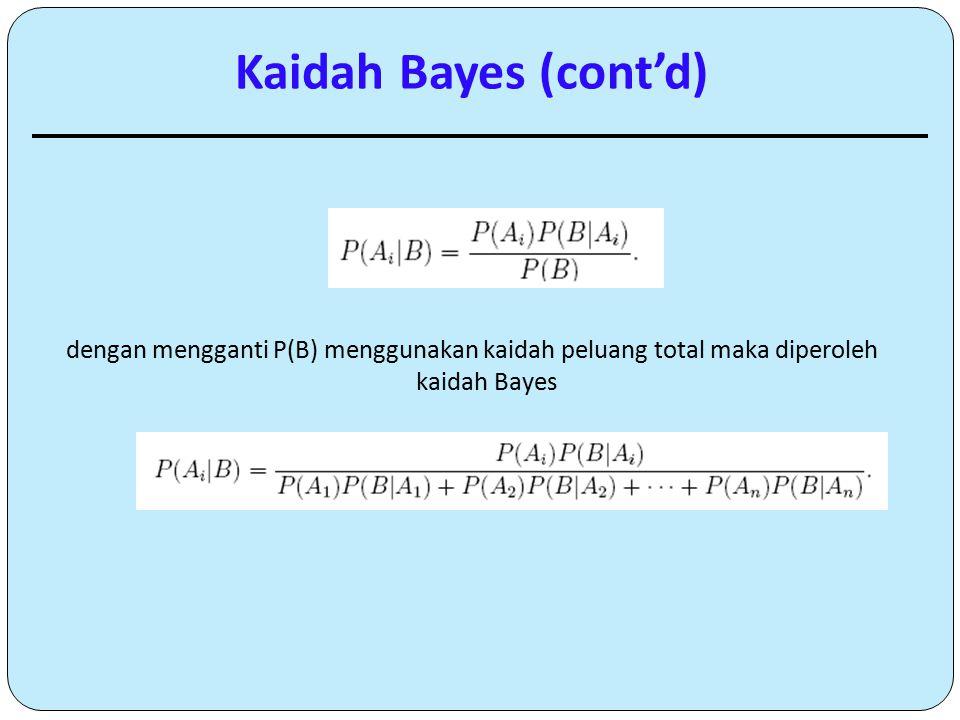 dengan mengganti P(B) menggunakan kaidah peluang total maka diperoleh kaidah Bayes Kaidah Bayes (cont'd)
