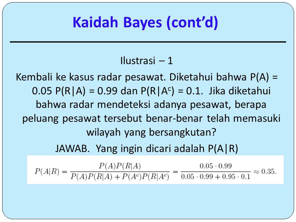 Ilustrasi – 1 Kembali ke kasus radar pesawat. Diketahui bahwa P(A) = 0.05 P(R|A) = 0.99 dan P(R|A c ) = 0.1. Jika diketahui bahwa radar mendeteksi ada