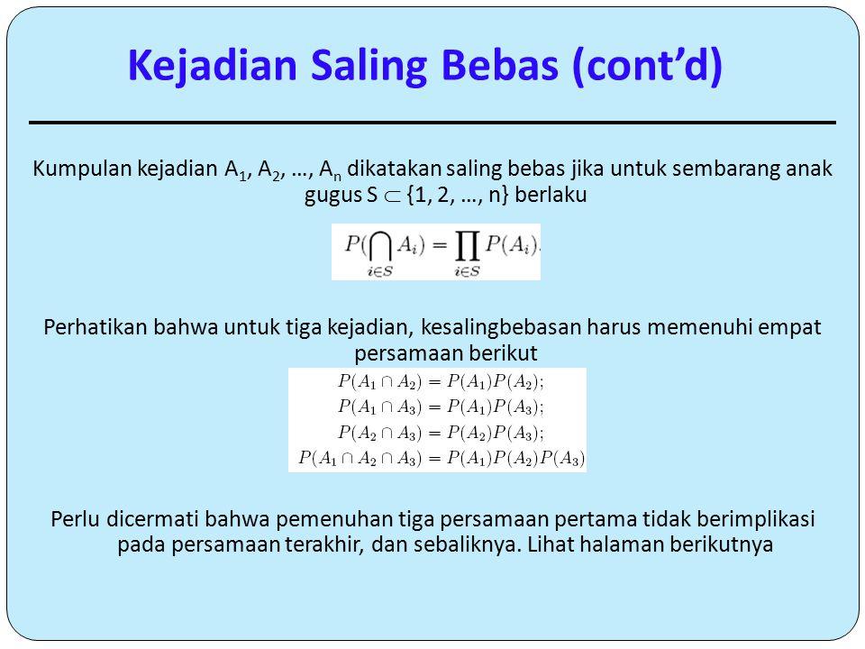 Kumpulan kejadian A 1, A 2, …, A n dikatakan saling bebas jika untuk sembarang anak gugus S  {1, 2, …, n} berlaku Perhatikan bahwa untuk tiga kejadia