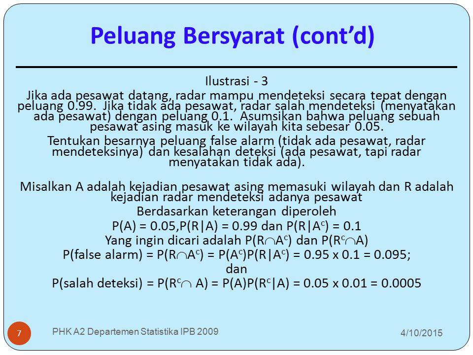 4/10/2015 PHK A2 Departemen Statistika IPB 2009 7 Ilustrasi - 3 Jika ada pesawat datang, radar mampu mendeteksi secara tepat dengan peluang 0.99. Jika