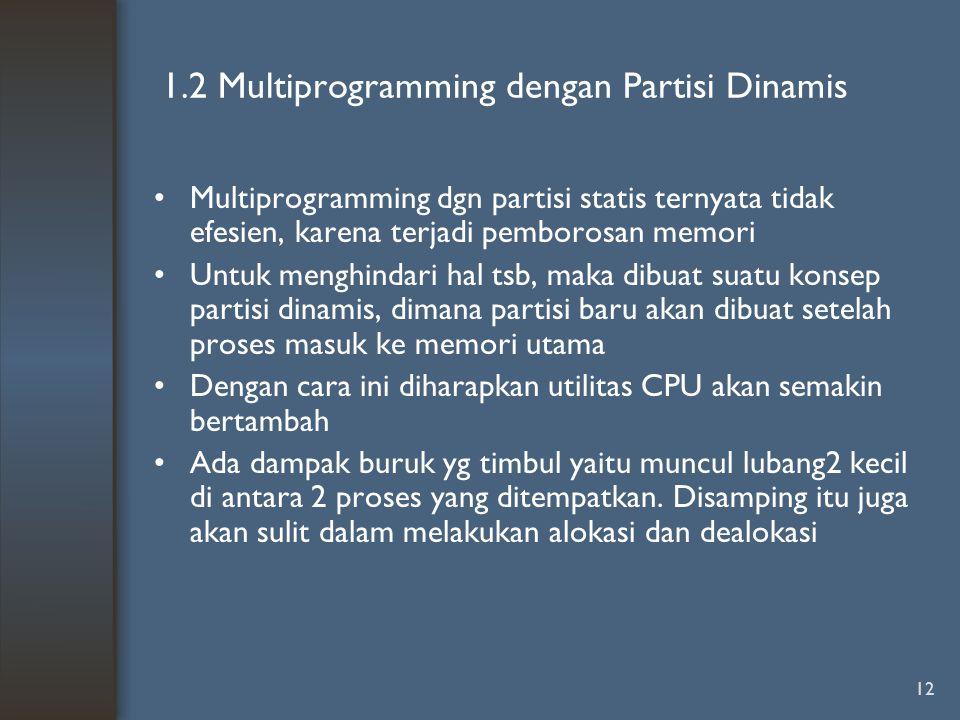 12 1.2 Multiprogramming dengan Partisi Dinamis Multiprogramming dgn partisi statis ternyata tidak efesien, karena terjadi pemborosan memori Untuk meng