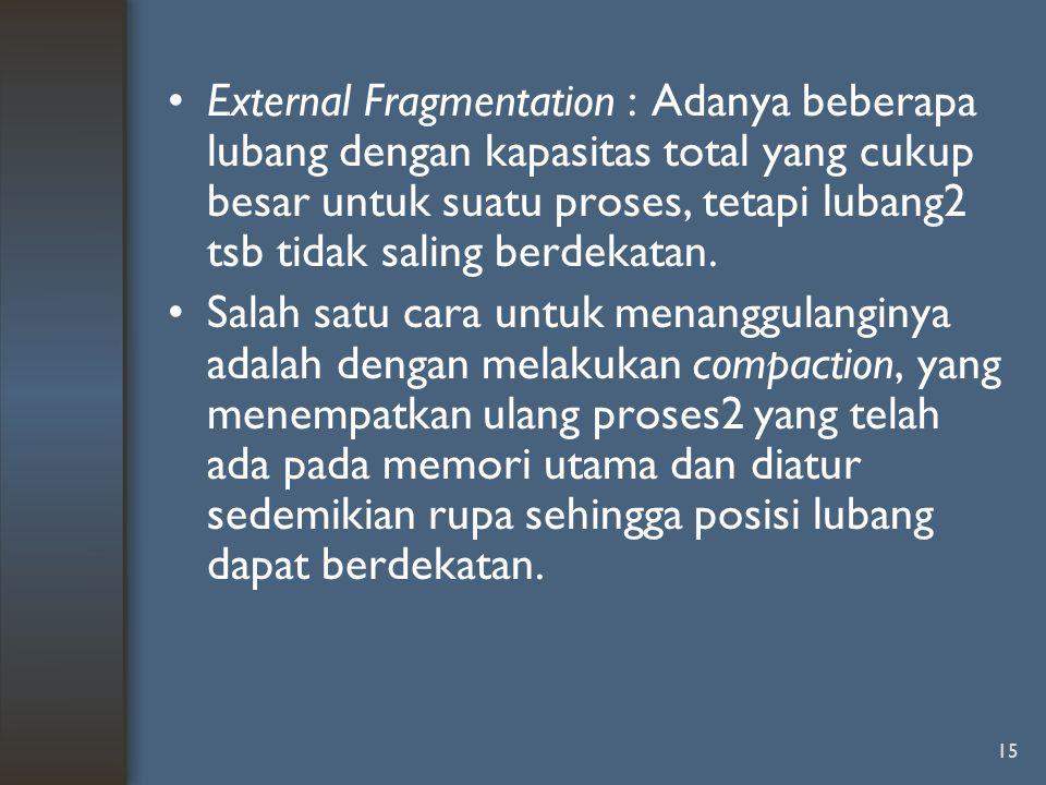 15 External Fragmentation : Adanya beberapa lubang dengan kapasitas total yang cukup besar untuk suatu proses, tetapi lubang2 tsb tidak saling berdeka