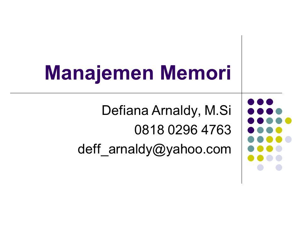 Manajemen Memori Defiana Arnaldy, M.Si 0818 0296 4763 deff_arnaldy@yahoo.com